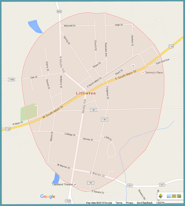 Town of Littleton - Town Limits [Map data (c) 2016 Google]