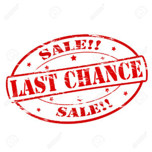 Stamp that says Sale! Last Chance!