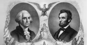 pencil drawing of George Washington and Abraham Lincoln